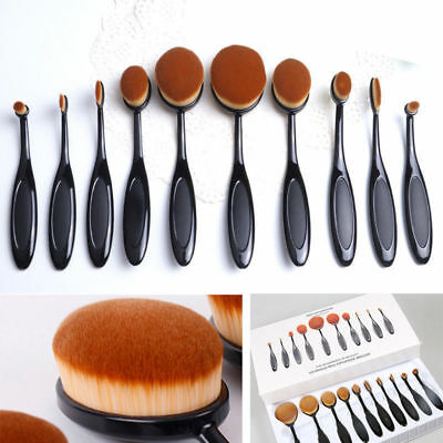 10Pcs Portable Ladies Oval Shape Cosmetic Toothbrush Shaped Power Makeup Brushes