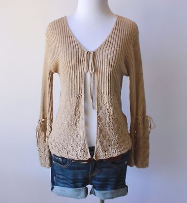 Charlotte Russe Ribbed Eyelet Crochet Bell Sleeve Cardigan Sweater