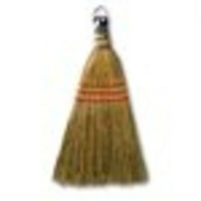 "Corn Fiber Bristles Whisk Broom 9"" With Yellow Wood Handle 10"", 12 ct"