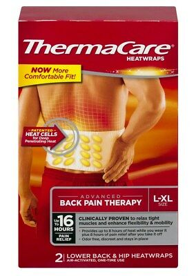 New ThermaCare Advanced Back Pain Therapy 2 Count L-XL Size