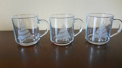 3 VTG Arcoroc France Clear Glass Etched Christmas Tree Mugs