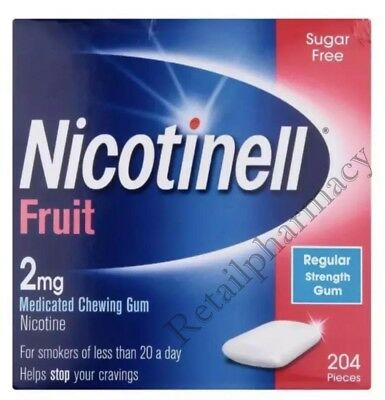 NICOTINELL 2MG FRUIT GUM PACK OF 204 -- 1, 2, 3, 6, 12 Money Saving PACK 06/2020