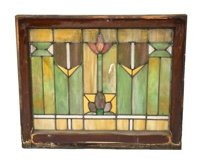 Intact American Salvaged Chicago Prairie School Style Residential Stained Glass