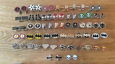 Super Hero Cufflinks Chrome Gold Cufflink, *MADE OF SOLID BRASS* 1st class post