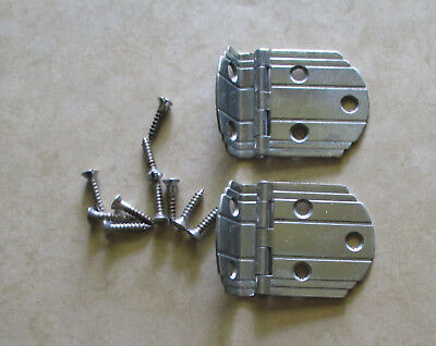 "Vintage pair of cabinet door 3/8"" offset hinges Art Deco style"