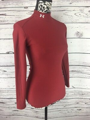 Under Armour Womens Sz M Base Layer Shirt Long Sleeve Maroon Mock Neck Cold Gear