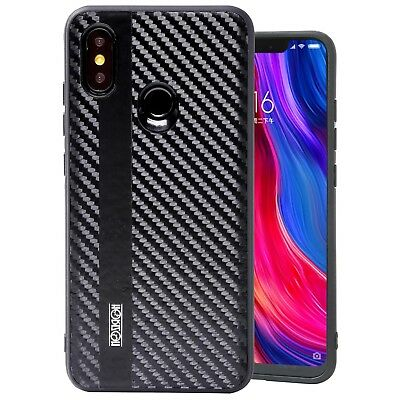 Xiaomi Mi8 Noziroh Carbon Cover Case + Tempered Glass Curved 3D Full Edge Rugged