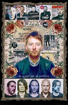 "Thom Yorke -11x17"" Collage poster -Vivid Colors - Deep Blacks - Signed by Artist"
