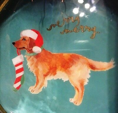 Fringe Golden Retriever With A  Christmas Stocking / Hat Ceramic Ornament  NEW