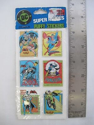 1982 DC Comics Bat Man Robin Superman Penguin Puffy Stickers Super Heroes