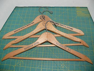 Lot Of 3 Vintage Wood Wooden Coat Clothes Hangers Advertising SHERATON HOTELS