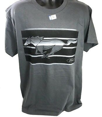 Ford Mustang T-Shirt w/ Running Horse Grille Emblem Logo - Gray & Black