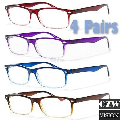 0302b634e53 4 Pairs Mens Womens Spring Hinge Rectangular Reading Reader Power Glasses 1- 3
