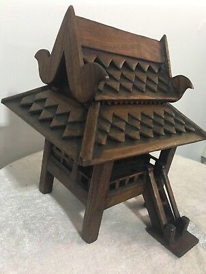 Antique Thaiold Gold Teak Wood House Handcraft Model Traditional & Culture