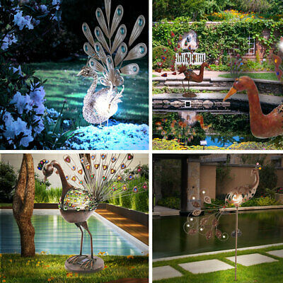 Decor outside Garden Led Stand Plug Floor Ground Spike Peacock Figure Lamp Solar