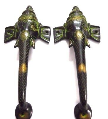 Lord Ganesha Shape Antique Vintage Style Handcrafted Brass Door Handle Knob Pull