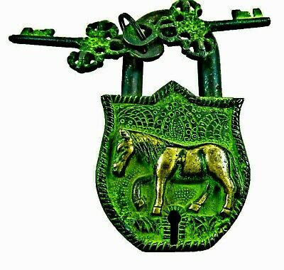 Horse Design Handmade Vintage Antique Finish Brass Padlock with unique keys