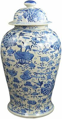 "Festcool 19"" Antique Finish Blue and White Porcelain Lotus Temple Ceramic Gin..."