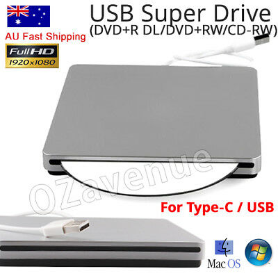 Slot Load External USB CD-RW/DVD ROM Drive For Notebook Mac Laptop Air Pro AU