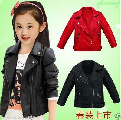 2018 New Kids Girls Spring and Autumn Children's Jacket PU Leather Jacket
