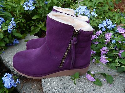 0b7d38189c5 NEW Purple Suede ANKLE BOOTS~BEARPAW BOOTIE Fur SHEEPSKIN Quilted Side  Zipper 7