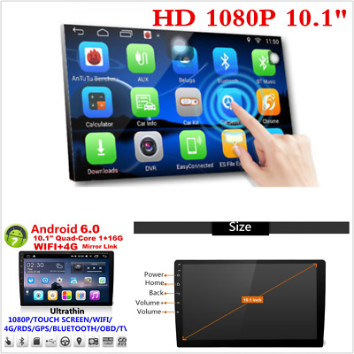 """10.1"""" 2Din Touch Screen Quad-Core Car Stereo Radio GPS Mirror Link Android 6.0"""