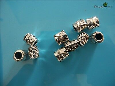 10 PCs Tibetan Carved Silver Metal Beads Set - Dreadlock Beads dread beads A08