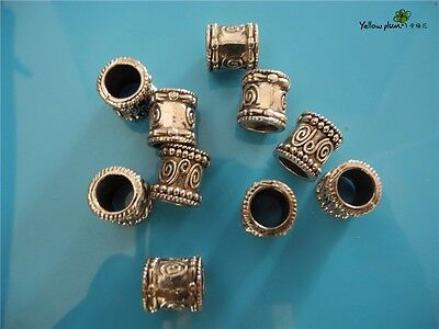 10 PCs Tibetan Carved Silver Metal Beads Set - Dreadlock Beads dread beads A04