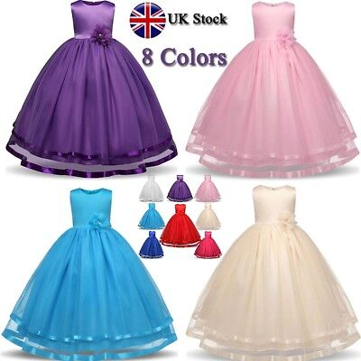 Girl Kids Floral Princess Formal Wedding Bridesmaid Ball Gown Long Dress Age4-12