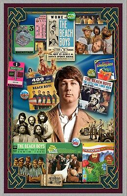 """Brian Wilson-11x17""""Collage poster -Vivid Colors - Deep Blacks - Signed by Artist"""