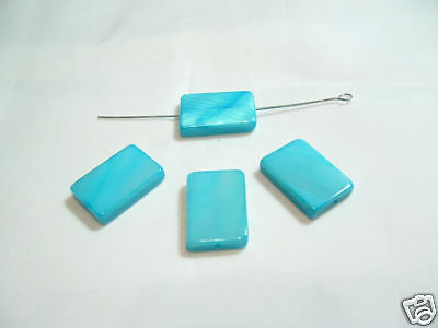 15 x Natural Dyed Shell Oblong Beads : BNOB02 Turquoise