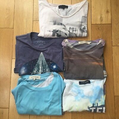 River Island t-shirts - Cityscapes - Job Lot of 5 - Adult Male - Small Size