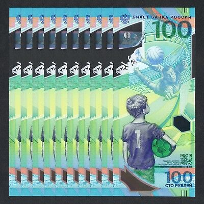 2018 Russia 100 Rubles Polymer P-New Unc Lot 10 Pcs>Fifa World Cup Comm Aa
