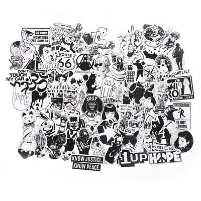 100X Black and White Stickers Skateboard Luggage Laptop PVC Graffiti Sticker^^