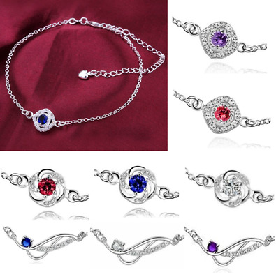 2 Colours 925-Sterling-Silver-Ankle-Bracelet-Womens-Anklet-Adjustable-Chain-Foot