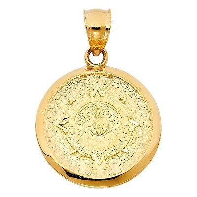 Yellow Gold Real Solid Calendario Azteca Charm Pendant 14K 21mmX21mm 2.5grams