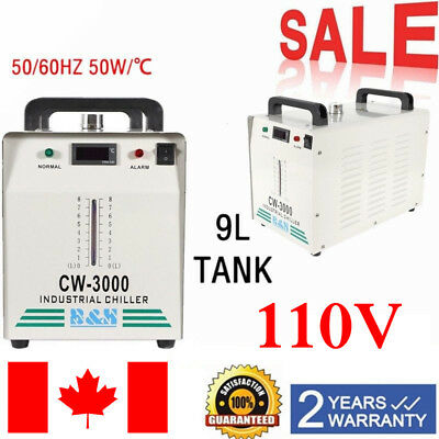 110V CW-3000 Thermolysis Industrial Water Chiller for 60 / 80W CO2 Glass Tube