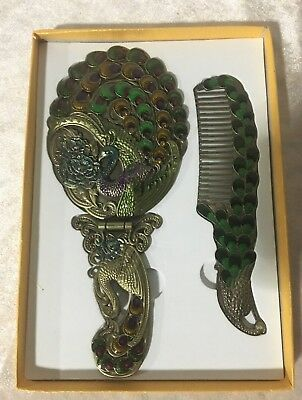 Vintage Vanity Set Hand Painted Mirror Comb Brass Make up Peacock Flower Pattern