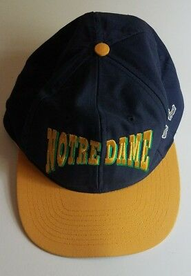 Notre Dame Fighting Irish Vintage Cap Snapback Hat NCAA Football Blue & Gold ND