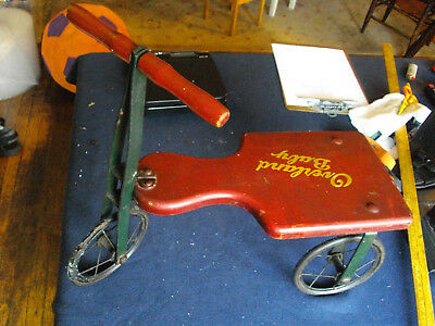 Antique Overland baby Red & Green vintage Wood & Metal Trike Circa 1910