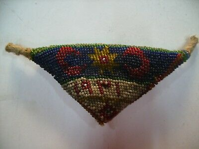 Ottoman Turkish  Military Prisoner Glass Bead Amulet Beadwork 1931