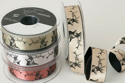 Berisfords Stag Heads Printed Metallic Satin Ribbon - Cut Lengths - Christmas