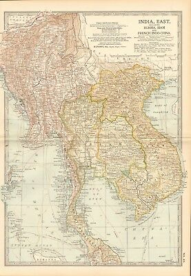 1903 Antique Map- India East, Burma, Siam And French Indo China