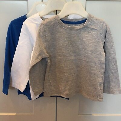 3x Mothercare Long Sleeve tops boy girl 12-18 Months 1-1.5 Red Blue Grey White