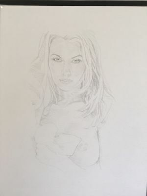 Nude Drawing.Beautiful Woman,One Breast Bare,With Sheet.Original Art.Sexy,Pretty