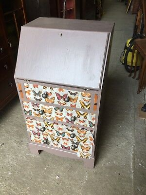 SMALL VINTAGE CABINET Bureau Painted With Butterfly