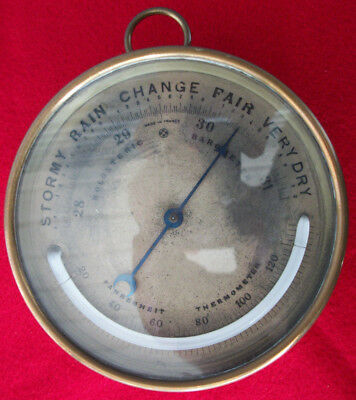 "Antique Brass Enamel Holosteric Barometer France The Case is 5"" Across"