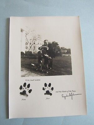 Rare Lyndon B. Johnson Photo White House Card 'Him and Her' Master of the Pups