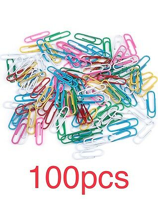 100pcs PAPER CLIPS ASSORTED COLORS - VINYL COATED - 28mm - Brand New