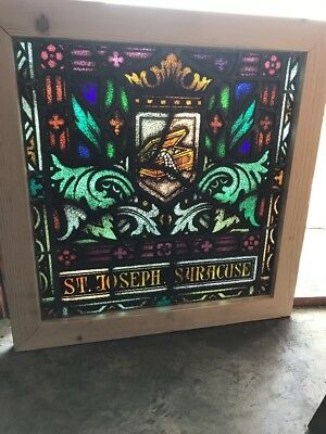 Sg 2467 Antique Painted And Fired St. Joseph Syracuse Stainglass Window